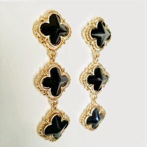 Mia Gold & Black Clover Dangle Earrings